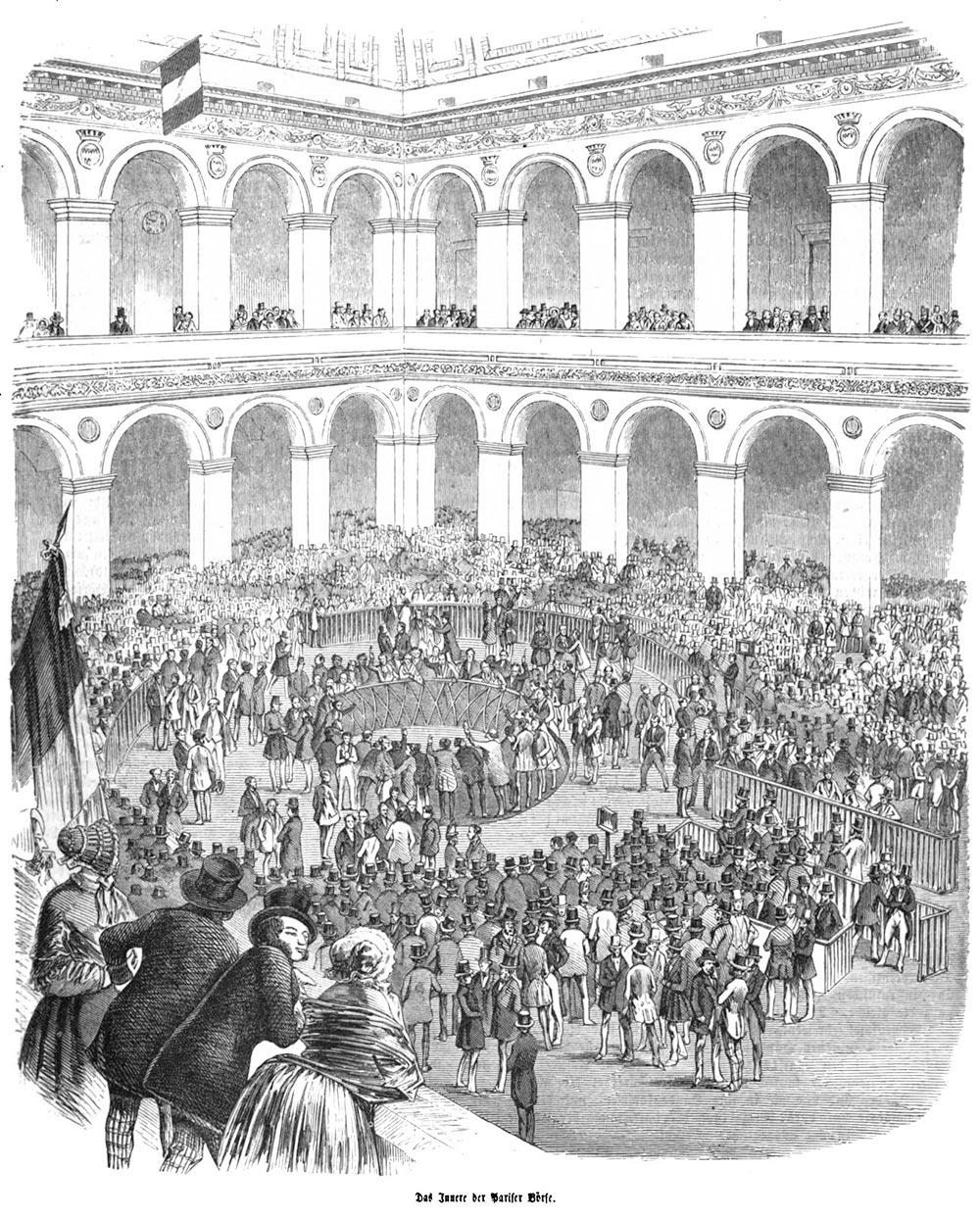 Agents de change autour de la corbeille à la bourse de Paris au 19 e siècle