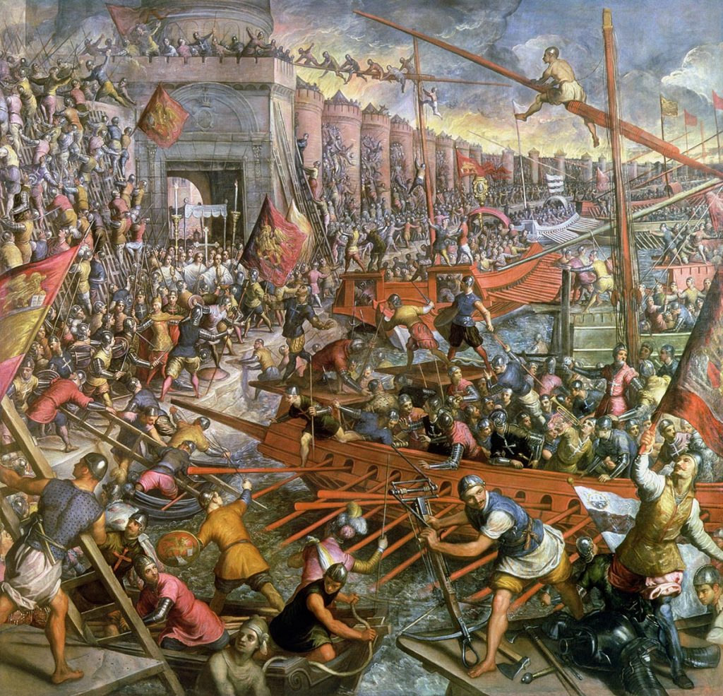 La capture de Constantinople en 1204 de Jacopo Tintoretto