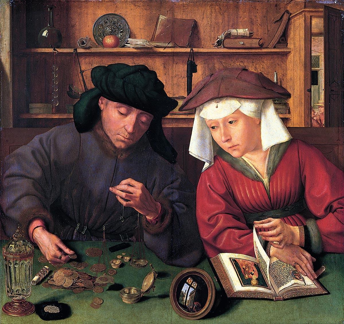 Le changeur et sa femme de Quentin Metsys - 1514