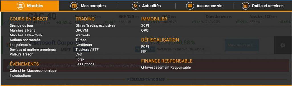 Bourse Direct - Onglet Marchés