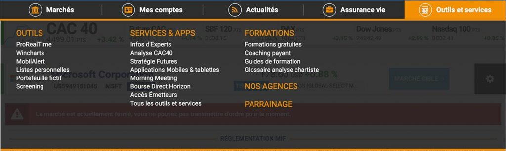 Bourse Direct - Onglet Outils et services